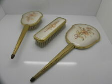 VINTAGE POSH EMBROIDERED DRESSING TABLE SET MIRROR, BRUSH & HAIR BRUSH