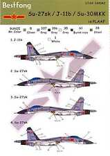Bestfong Decals 1/144 SUKHOI Su-27sk J-11b Su-30MKK Red Chinese Air Force