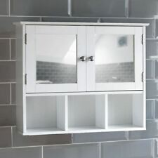 Milano Bathroom Mirror Cabinet Double Door Shelves Wall Mounted Cupboard White