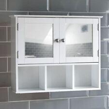 Milano miroir de salle de bain armoire double porte étagères Mural Placard Blanc