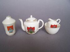 4 Pieces Fine Bone Crested China Teapot, Sugar & Cream marked 'AYR' (Scotland)