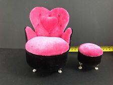 Dollhouse Furniture Velvet Hot Pink Armchair w/ Stool (Barbie/Monster High/etc)