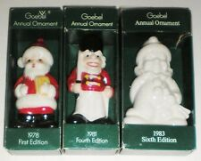 3 Vintage Goebel Annual Ornaments -1978 Santa 1981 Soldier 1983 Clown Orig Boxes