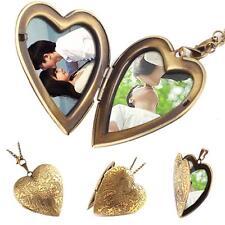 Unique Bronze Heart Friend Photo Picture Frame Locket Pendant Chain Necklace