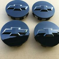 "Set of 4 GLOSSY BLACK Wheel Center Cap 3.25"" Rim Hubcap Cover 83mm fit for Chevy"