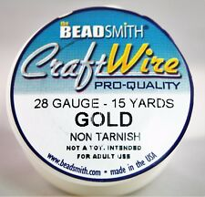 Beadsmith Craft Wire Pro Quality Gold 28 Gauge 15 yards