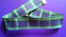 Tartan 25mm ribbon choker necklace vintage silver tone festival Scottish Gordon