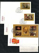 UdSSR Russia 1987 FDC 117th Birth Anniversary of Lenin Paitings Gemälde Set Satz