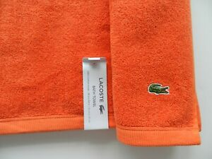 "Lacoste Bath Pool Beach Towel 100% Cotton 30""x54"" Orange"