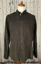 Vtg 90s Brown  Corduroy L-Sleeve Button Down Slim Fit Cord Shirt Britpop XL HE65
