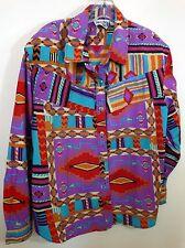 "VTG RODEO WESTERN WEAR Women's sz 1X 2X Cowgirl button shirt top B=50"""