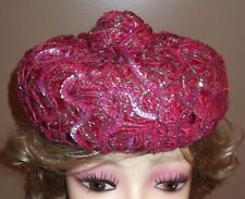 New listing Gorgeous Vtg Raspberry & Pink Sequined Cocktail Hat One Size 1950s Pillbox Wow!