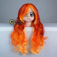 75CM Ombre Long Red Mixed Orange Yellow Curly Women Harajuku Cosplay Party Wig