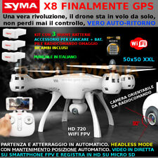 DRONE SYMA X8PRO XXL GPS AUTO RIT HEADLESS CAMERA HD ruotabile FPV real time 3bt