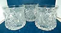Crystal Lowball Rocks Glasses Pineapple Pattern Heavy set of 3 Candleholders ?