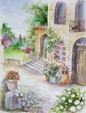 "Suzanne Obrand, Holocaust Survivor, Watercolor Painting ""Mediterrean"""