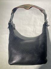 Burberry Classic Black Pebble Leather Hobo Handbag Purse Satchel Fabric Strap