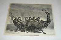 1878 magazine engraving ~ ACROBATIC BULLFIGHTING, Spain