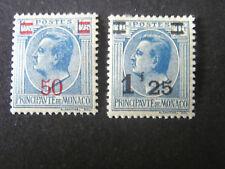*MONACO, SCOTT # 97/98(2), 50c+1.50fr.SURCHARGED VALUES 1926-31 LOUIS II MH
