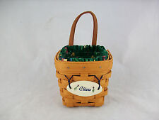 Longaberger 1997 Chives Booking Basket Combo w Tie On Emerald Vine