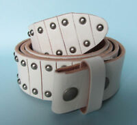 Snap on Leather Belt with Studs White