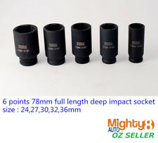 "5pc X-Steel 1/2"" Dr. Cr-Mo 6pt Deep Impact Socket Set: 24,27,30,32,36mm"