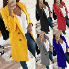 Womens Warm Woolen Trench Collared Coat Ladies Winter Long Jacket Overcoat Sizes