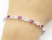 925 Sterling Silver - Oval Cut Ruby & White Topaz Tennis Bracelet - B1395