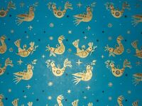 VTG CHRISTMAS WRAPPING PAPER GIFT WRAP 1960 PEACE DOVE ORNAMENT NOS GOLD & BLUE