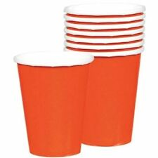 8 Orange Paper Cups 9oz 266ml Birthday Party Wedding Solid Colour Tableware