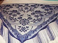 New Dark Blue Lace Victorian Design Shawl/Mantilla.