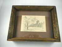 Vtg PENCIL SKETCH Queens University Belfast Ireland Signed Artist RAYMOND PIPER