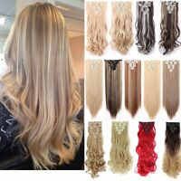Extra Thick AS Remy Human Hair Extensions Single Weft 170G Clip In US TOP SALE