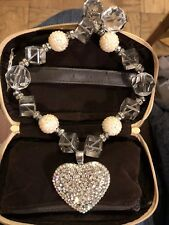 Chunky Beaded Necklace with Lg Heart