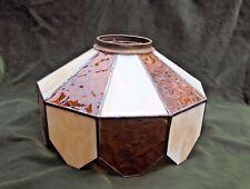 "Amber & White Slag Glass Leaded Panel Table Lamp Shade 12"" w/ Brass Collar"