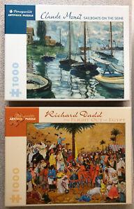 LOT OF 2: Jigsaw Puzzles: Pomegranate's Monet/Sailboats & Dadd's Flight/Egypt