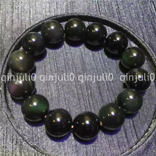 100% Natural 16mm Rainbow Black Obsidian Gemstone Round Beads Stretch Bracelet