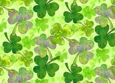 FAT QUARTER  SHAMROCKS  SHADES OF CLOVERS ST PATRICKS DAY FABRIC 100% COTTON  FQ