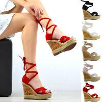 Womens Platform Wedge Heel Espadrilles Sandals Lace Tie Up Ladies Summer Shoes