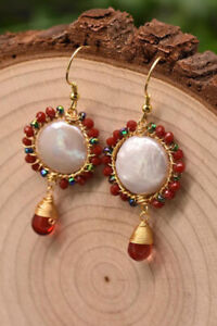 B15 Earrings Disc Baroque Pearl Knopfperle Red Wreath Silver 925 Gold Plated