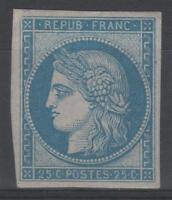 """FRANCE YVERT SCOTT 4 d  """" CERES 25c BLUE 1862 """" MNH VVF  N862"""