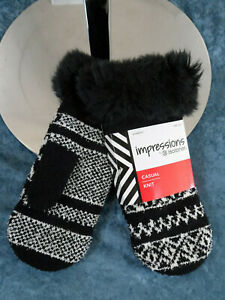 ISOTONER IMPRESSIONS SHERPA LINED FAUX FUR MITTENS WOMENS - NWT