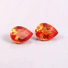 Natural Ceylon Orange Fanta Sapphire Loose Pear Gemstone Cut Matched Pair 10x7MM