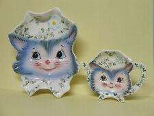 Vintage Lefton Miss Priss Kitty Cat Spoon Rest & Tea Bag Holder (Japan)
