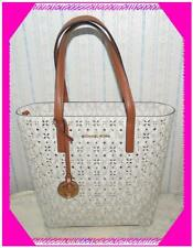 MICHAEL KORS STUDDED Flower PVC Signature Vanilla Brown Leather TOTE Bag Nwotag