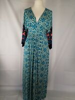 Goddiva  Turquoise Maxi V neck Dress  UK 12 Worn Twice