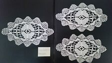 Lot 3 napperons ovales dentelles au fuseau de Bruges, anciens