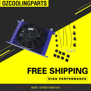 """Universal 15 Row 10AN Oil Cooler Engine Transmission+7"""" inch Electric Thermo Fan"""