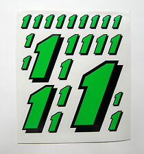 Racing Numbers 1 Decal Sticker Sheet Pack FL Green Black 1/8 1/10 RC models S08