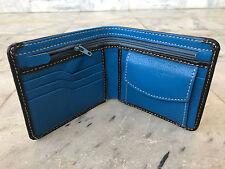 Mens Wallet Genuine Supreme Leather Bifold Handmade Cardholder Purse Black/Blue